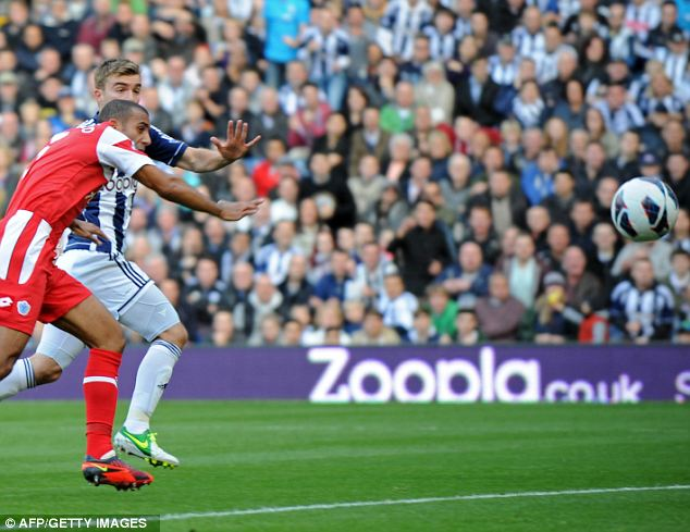 Up for it: James Morrison heads West Brom in front