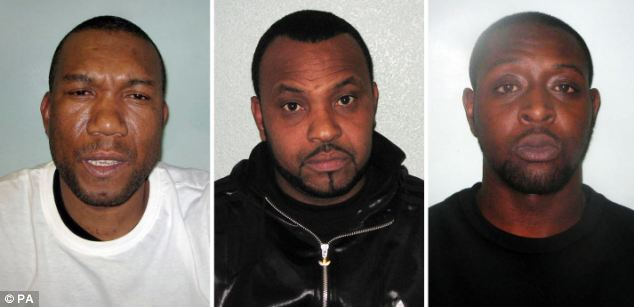 Jailed: Hume Bent, Carlos Moncrieffe and Christopher McKenzie (left to right) were sentenced to a total of 33 years for conspiracy to supply ammunition and firearms to south London gangs