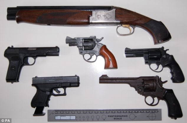 Huge haul: Six firearms (pictured) were recovered from Moncrieffe's house as well as ammunition, shell casings and tools to make ammunition