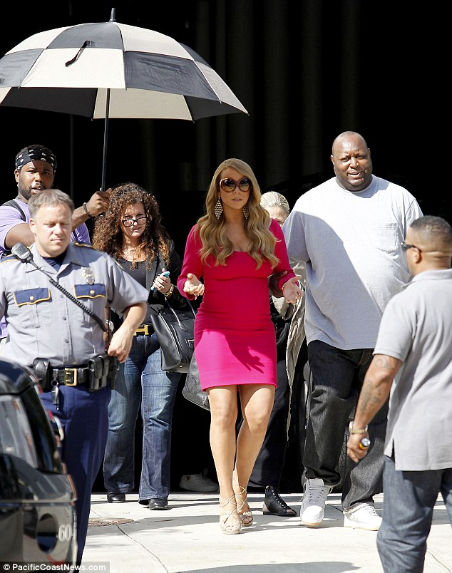 Protected: Mariah, pictured in Baton Rouge, Louisiana this week with extra security