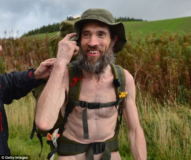 Rambling again: Stephen Gough, known as the Naked Rambler, was back doing what he loves yesterday - hiking with nothing but a pair of boots and a hat on