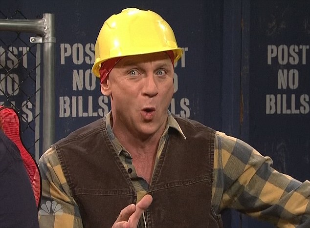 Far from his usual reputation: The 44-year-old plays a construction worker who doesn't know much about ladies