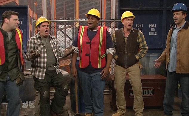 Hard hats: Co-worker's including Jason Sudeikis and Kenan Thompson are less than impressed with what he has to offer to the conversation