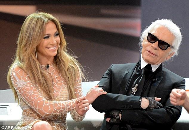 No stopping her: Jennifer Lopez chats to Chanel designer Karl Lagerfeld during German talk show Wetten Dass