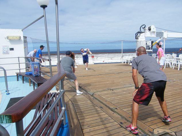 Crew passengers play cricket on RMS St Helena