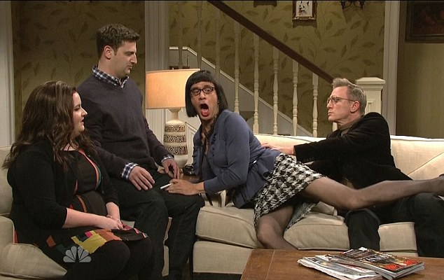 Touchy feely: Daniel Craig hosted Saturday Night Live and got in compromising positions with Fred Armisen