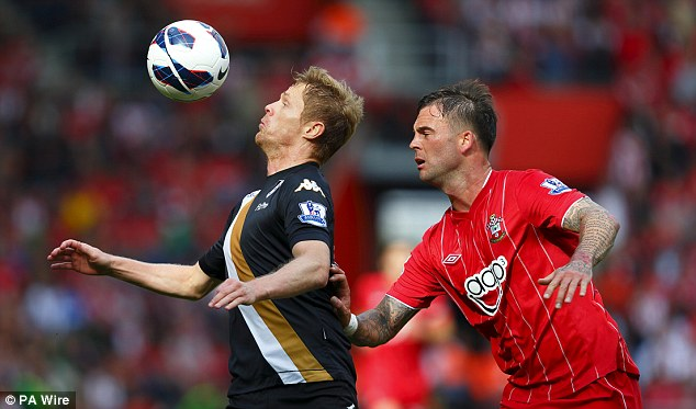 My ball: Danny Fox clashes with Fulham's Damian Duff