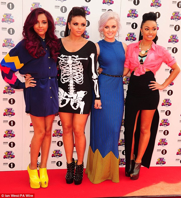 X Factor pals: Little Mix also showed up in their array of different outfits, with Jesy Nelson standing out in her skeleton frock