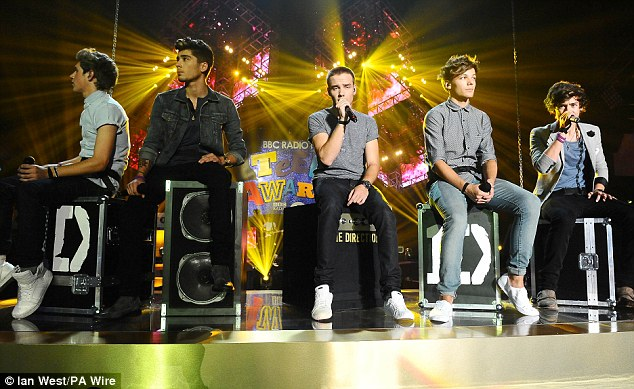 Crowd pleasers: While they were on stage several times to collect their awards the boys also sang for the happy audience during the evening