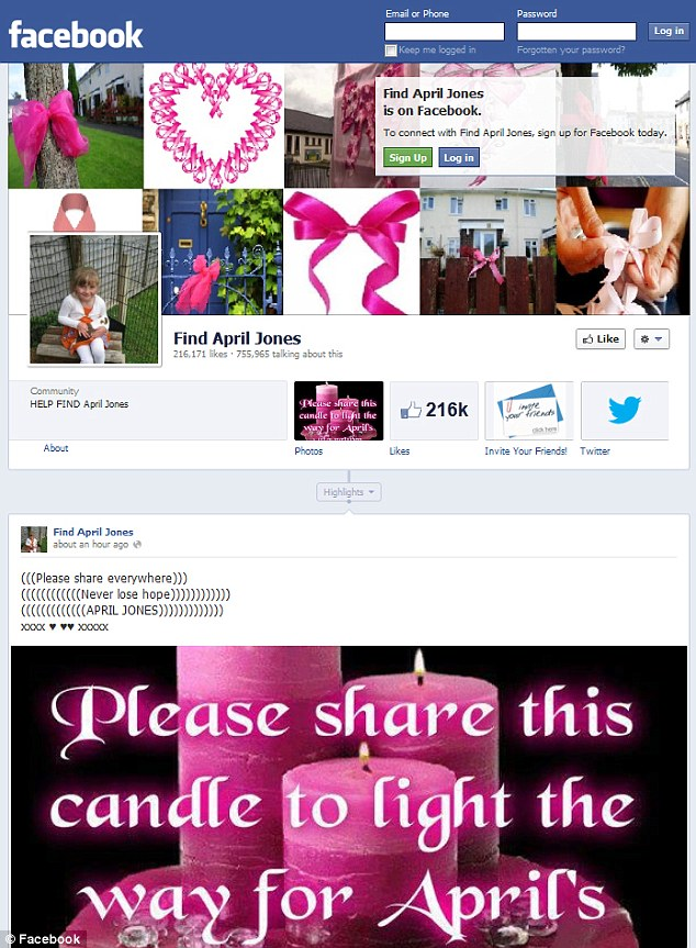 Helping hand: A Facebook group set up for her, called 'Find April Jones', has more than 215,00 likes