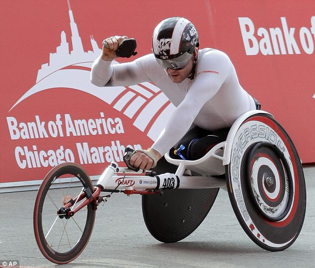 Josh Cassidy of Canada took first in the men's division of the wheelchair race