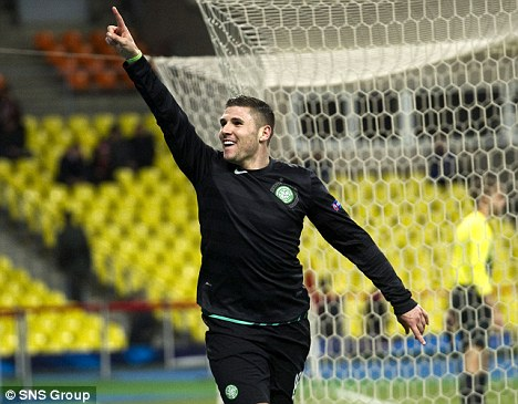Top form: Hooper netted as Celtic won in Moscow