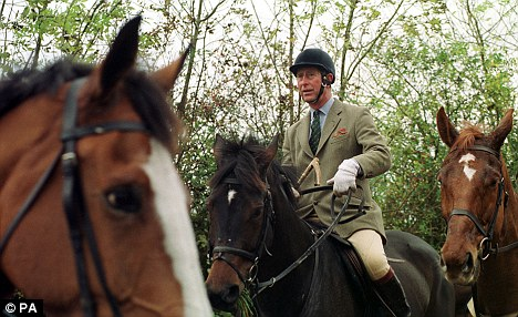 Royal connection: Prince Charles on the Beaufort Hunt in 1999. He and his sons William and Harry regularly attended before the 2004 foxhunting ban