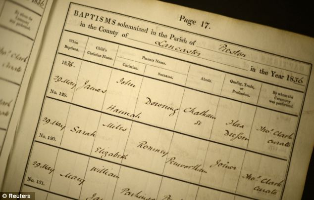 Who do you think you are? An original baptism record shows details of some of the presidential candidate's relatives in what was then Lancashire