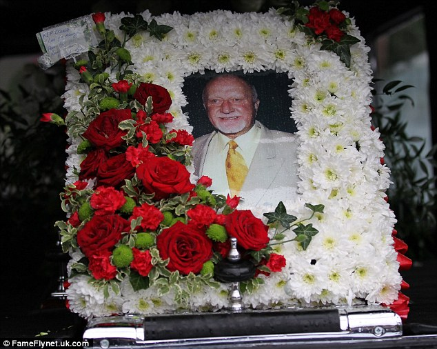 Tribute: A floral tribute to the former gangster pictured in one of the hearses used in his funeral procession
