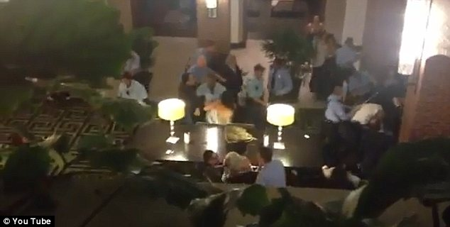 Melee: Police say that two wedding receptions were taking place at the hotel and a fight broke out near the bar