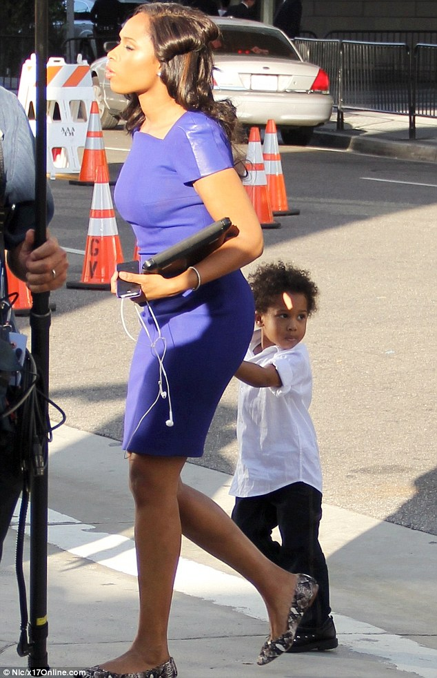 Purple reign: Jennifer Hudson and her son David also attended the evening's festivities