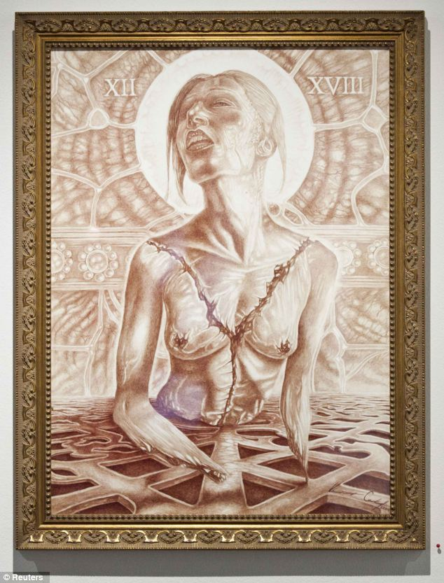 Strange themes: Vincent Castiglia sees his methods as putting 'psychic energy' into each piece. Pictured, Beautiful Vivisection