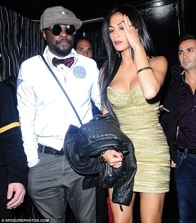 Better late than never: will.i.am and Nicole Scherzinger were also spotted leaving the nightclub