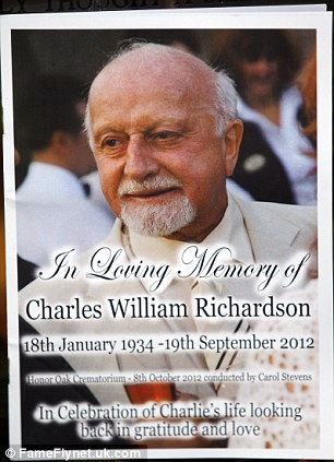 In loving memory: The programme carried the phrase - 'In celebration of Charlie's life looking back in gratitude and love'