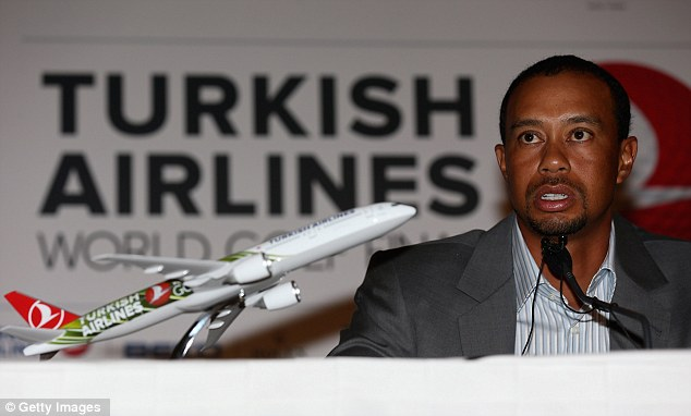 Plane to see: Tiger Woods ahead of the Turkish Airlines World Golf Final at Antalya GC in Turkey