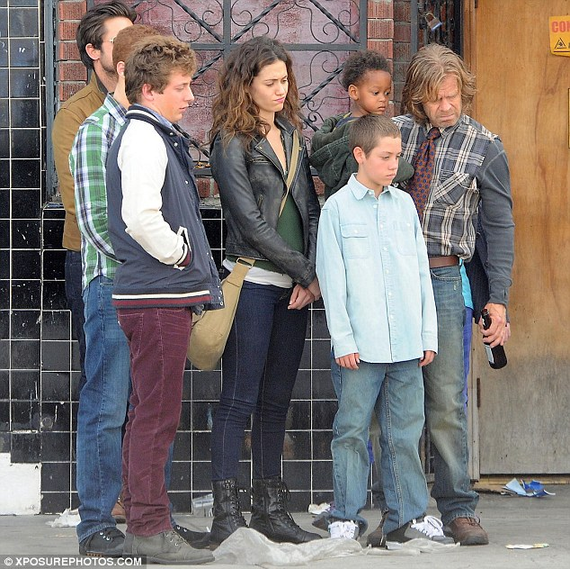 The cast of the US version of Shameless filming in Los Angeles