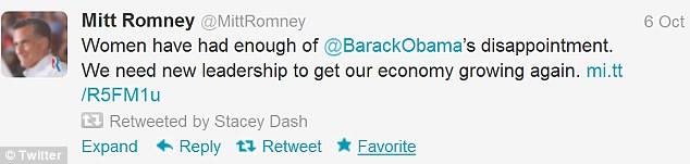 The actress lent her support to Mitt Romney in 2012 by re-tweeting his posts
