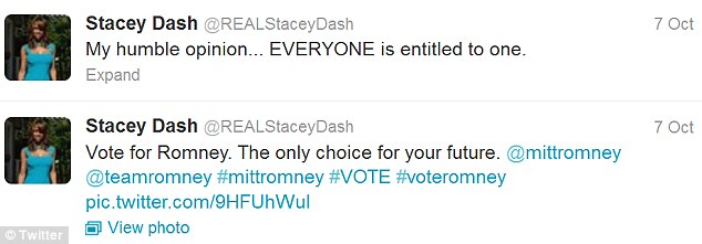 Vote Romney: In 2012 the Clueless star took to Twitter to show how she would be voting in the presidential election