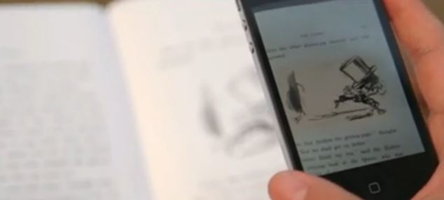 The phone shows characters running across pages and jumping around