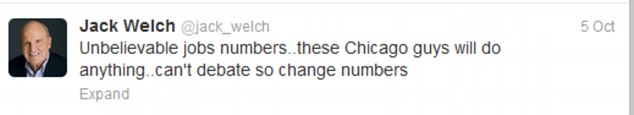 Unbelievable: The tweet has caused Jack Welch so much trouble in recent days