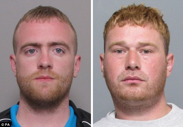 Guilty: Burglars Joshua O'Gorman , left, and Daniel Mansell, who had a string of previous convictions, were both jailed after they were shot after breaking into the home of Andy Ferrie in Welby, near Melton Mowbray