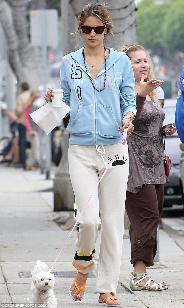 Cool and casual: Victoria Secret model Alessandra Ambrosio makes a coffee run in Los Angeles on Monday