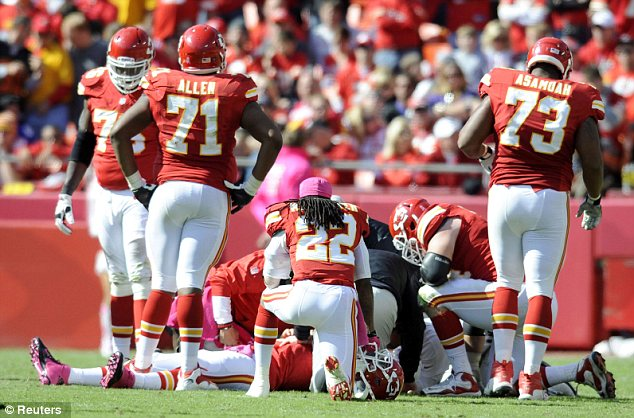 Injury: Matt Cassel lies on the field after he suffered a head injury in the fourth quarter of the game between the Kansas City Chiefs and the Baltimore Ravens