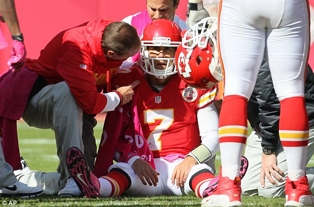 Dazed: Trainers assist Kansas City Chiefs Cassel during the fourth quarter hit in the Chiefs' 9-6 loss to the Ravens
