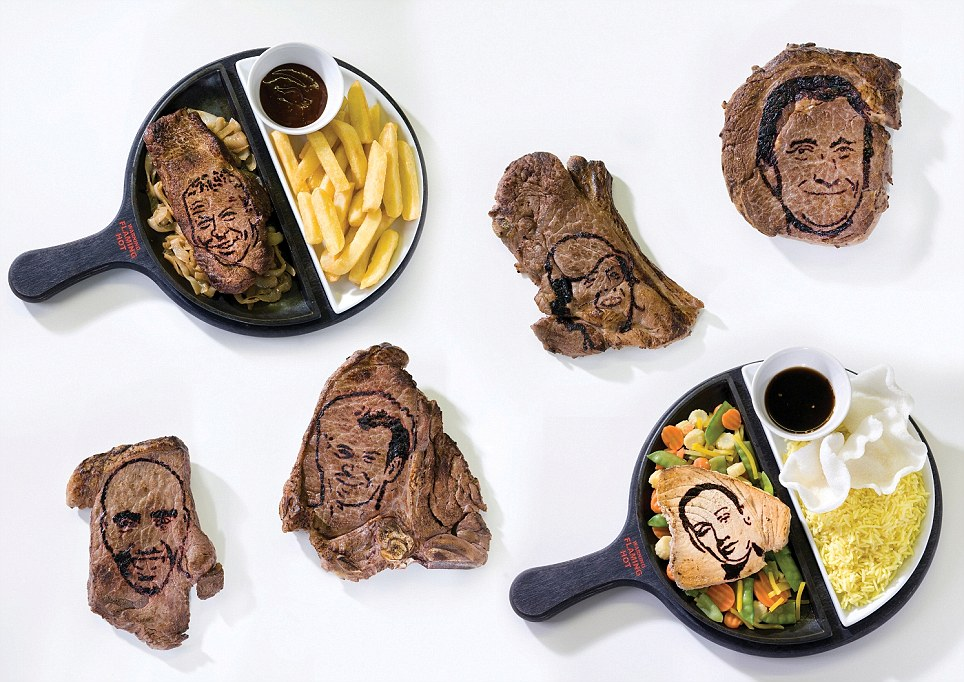 Cook-a-likes! Pub chain Flaming Grill have branded their steaks with the faces of British sporting heroes