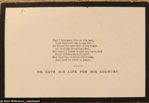 The family now plan to visit his grave at Fins British Cemetery, in the district of Sorel Le Grand, in the Somme region of France