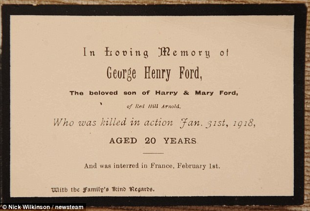 Due to Allan's research, he was able to reveal the whereabouts of Pte Ford's grave - something previously unbeknown to his nephews George and Larry. Pictured, George's memorial card