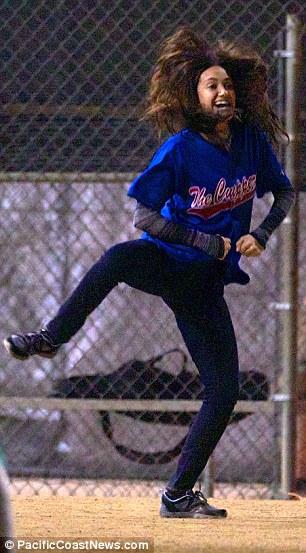 Emily Rossum larks around on the set on the US version of Shameless on Friday