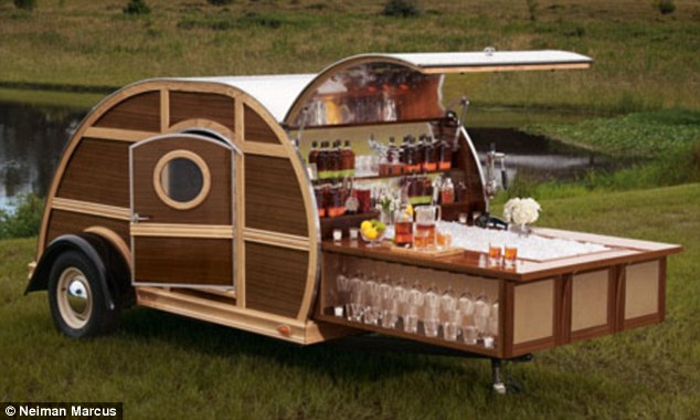 Travel in style: A $150,000 woody tailgate trailer complete with a sound system and stocked bar