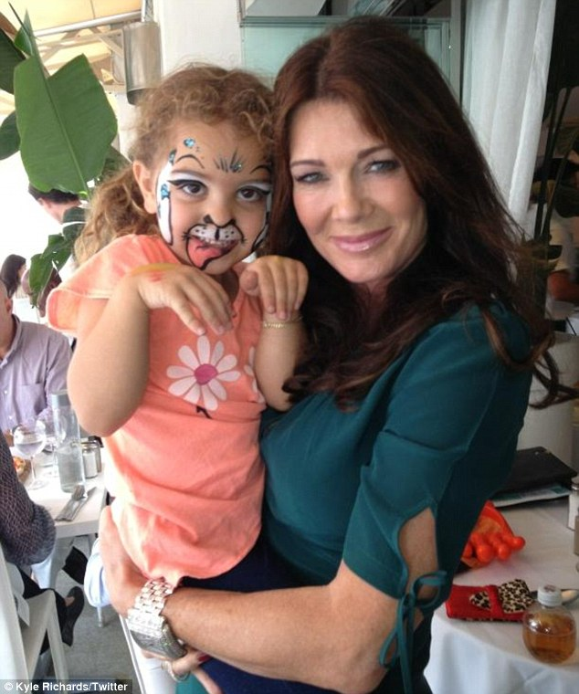 Getting catty: Kyle shared a picture of her daughter's painted face at lunch with co-star Lisa Vanderpump