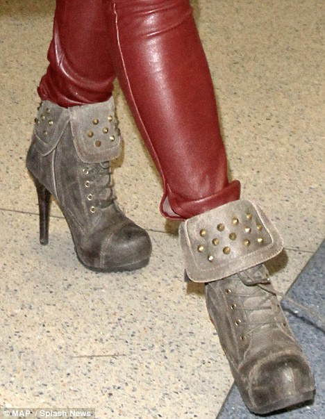 Hardcore: Fergie also popped on these hard-wearing, sky-reaching boots
