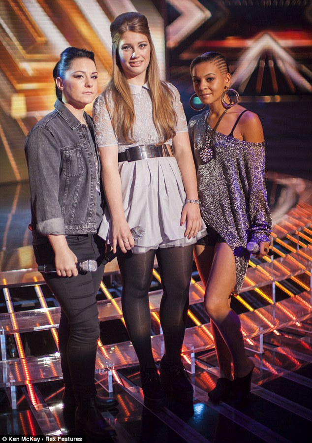 The show must go on: Lucy, pictured with Ella Henderson and Jade Ellis, is back at rehearsals after having been home for a day
