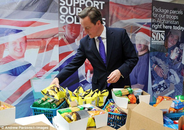 On Monday Mr Cameron used the @David_Cameron account to reveal he had packed some boxes for the #supportoursoldiers campaign
