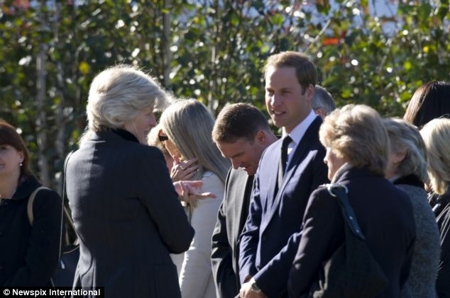 Princess Diana's sisters Lady Jane Fellowes (left facing William) and Lady Sarah McCorquadale (right facing William) also attended the funeral in Harlow, Essex