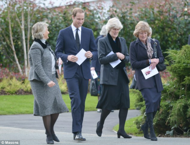 Family support: Prince William arrived at the service at Parndon Wood Cemetery accompanied by his late mother's sisters Lady Jane Fellowes (right, next to William) and Lady Sarah McCorquodale (far right)