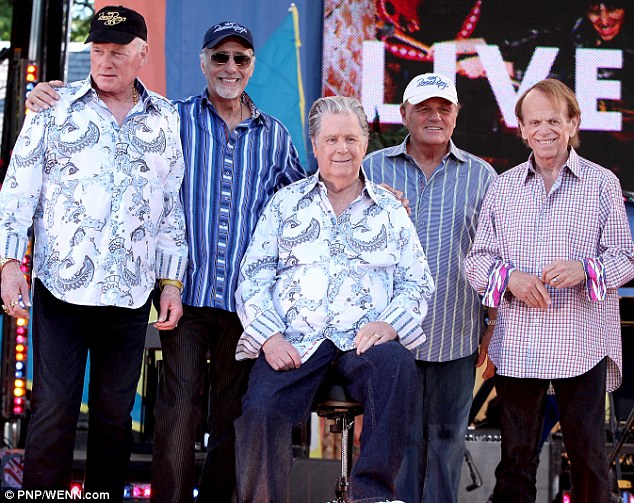 Play nice! Mike Love, David Marks, Brian Wilson, Bruce Arthur Johnston and Al Jardine perform in Central Park as part of Good Morning America's Summer Concert Series in New York in June