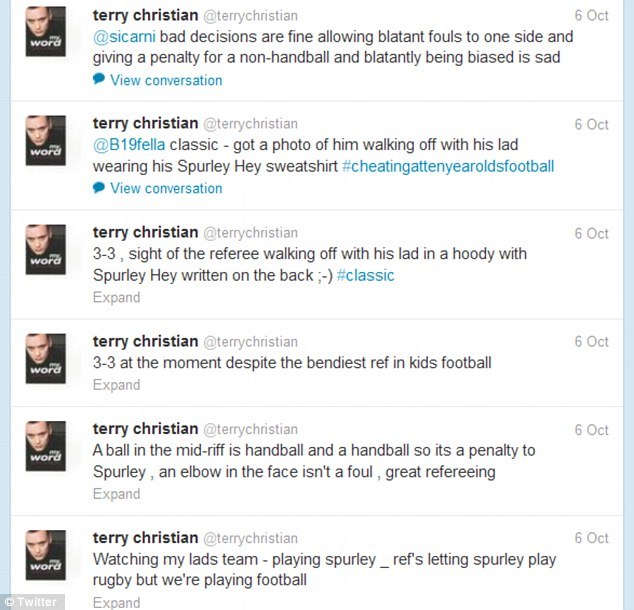Twitter timeline: After the match he tweeted about the referee, sparking a war of words with rival fans