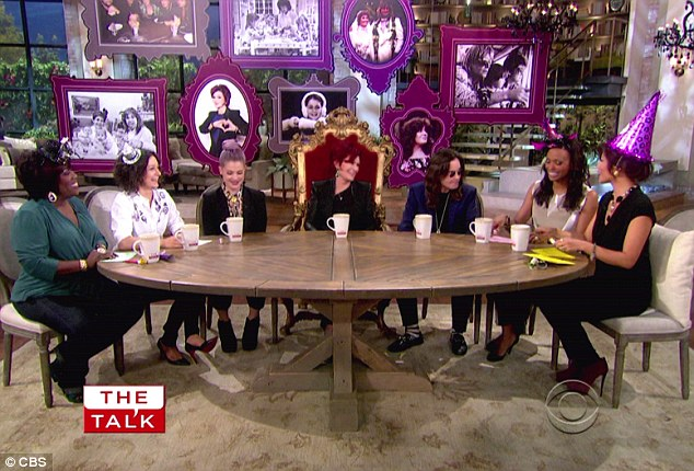Party time: The family were also joined by Sharon's The Talk co-hosts including Julie Chen, Sara Gilbert, Sheryl Underwood and Aisha Tyler