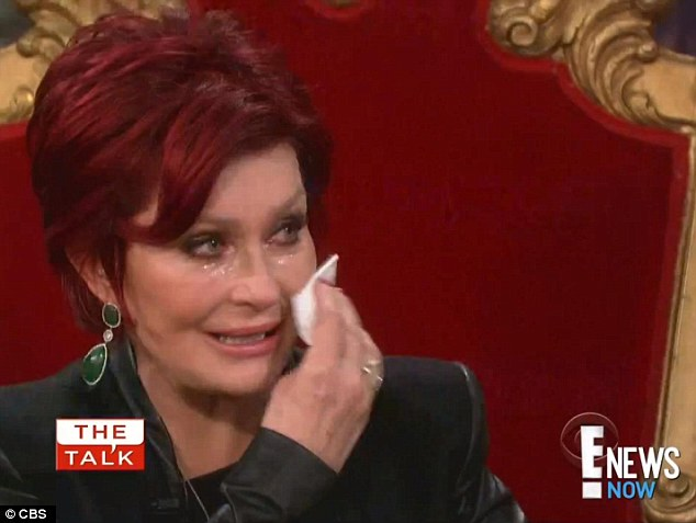 Plenty of tears: Sharon shed buckets as she was shown an emotional clip