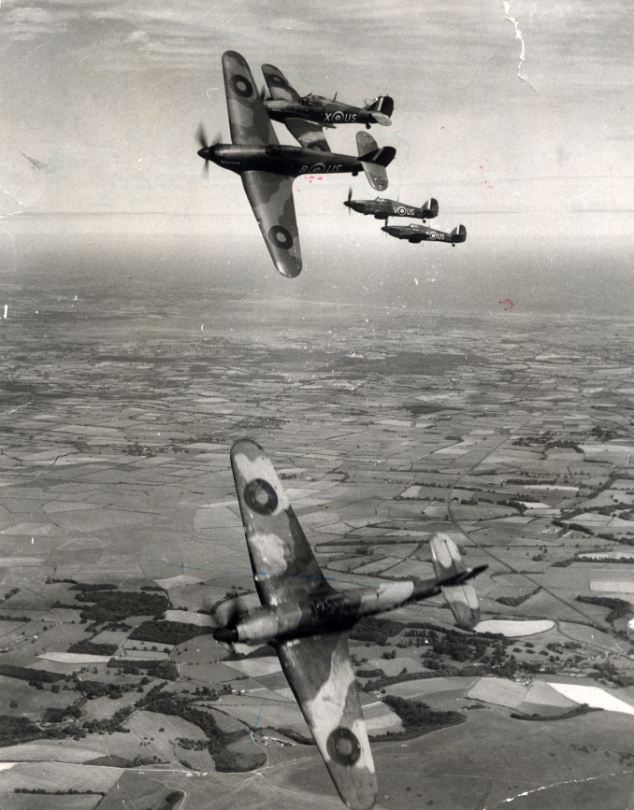 A Hawker Hurricane formation over southern England during the Second World War